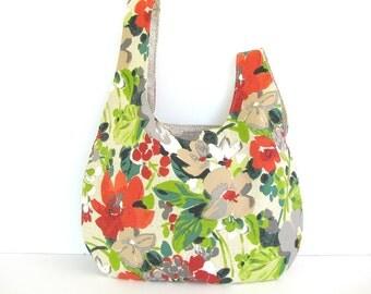 Japanese Knot Handbag, Knitting Bag, Crochet Project Bag, Tote Bag - Flower Jungle