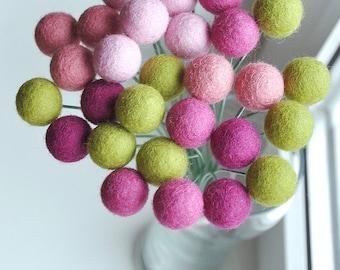 Felt flower bouquet, pom pom flowers, pink green bouquet, spring billy balls, pink green balls, felt flowers, spring craspedia, office decor