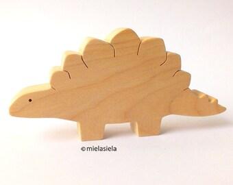 Handmade natural wooden toy Dinosaur - Stegosaurus