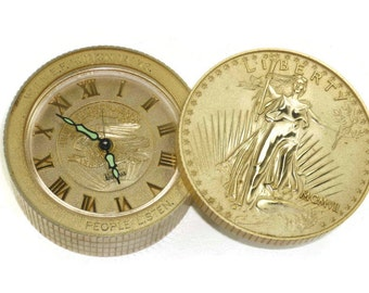 E F Hutton Bulova Clock Works Vintage Lady Liberty Coin Stack Shaped with Swivel Top