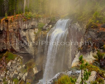Waterfall Mist Golden Light Mystical Magical Dreamy Scenic Landscape, Fine Art Photography matted & signed 5x7 Original Photograph