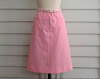 1970s pink a line cotton skirt / Large to Extra Large Plus Size bubblegum pink vintage skirt with matching woven belt and pockets