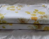 Pair of Vintage Pillow Cases in Floral Yellow Orange with hint of Pale Blue Free Shipping