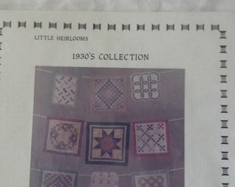 Little Heirlooms Quilted Blocks Pattern Kit 1930's Collection Pattern by Tomorrow's Heirlooms Free Shipping