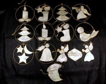 Set of Fourteen 14 Capiz Shell Christmas Tree Ornaments