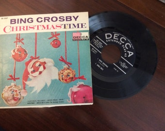 vintage Christmas Tunes ... BING CROSBY Christmas Time  45 RECORD in Sleeve ...