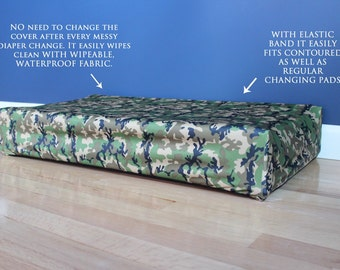ready to ship, wipeable waterproof  changing pad cover, contoured changing pad cover