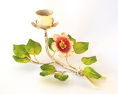 Vintage Retro Kitsch Metal Flower Leaf Candle Holder Candlestick Tole Italian Toleware