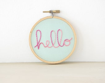 Hello Embroidery Hoop Wall Art in pink ombre, hand lettering, hand embroidered word art, friend gift, dorm decor, kids room