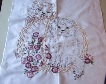 6 - hand embroidered Kittens in a basket
