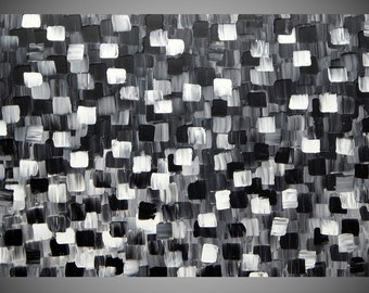 Painting Art Paintings Black White shades of Grey Acrylic painting on large canvas wall art Abstract art deco 40 x 24 wall hanging by ilonka