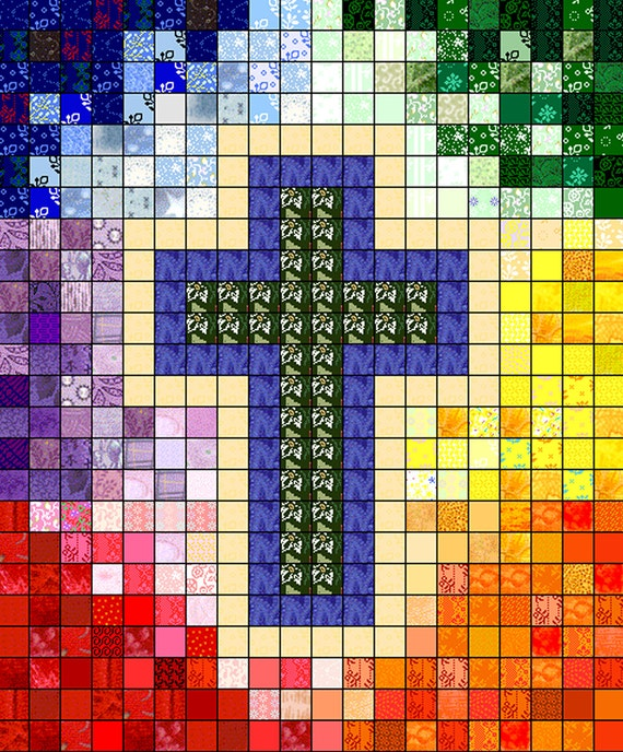 Quilt Pattern Watercolor Rainbow Religious Cross