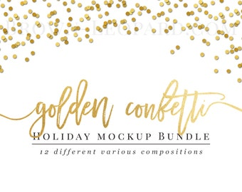 Golden Confetti Mockup bundle, Styled Stock Photography, Holiday mockup, Christmas Mockup set (82)