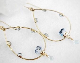 ON SALE topaz earrings, topaz hoop earrings, gold earrings, gold hoops, valentine's day, heart jewelry, heart earrings, OOAK, gifts for her