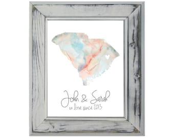 South Carolina Watercolor, 8x10, Art Print, Wall Print, Wedding Gift, Engagement Gift, Gallery Wall, Custom