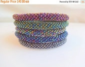 summer sale Collection of Metallic Colors Beaded Handmade Bracelets Set, Seed Beads, Crocheted in Nepal, BS45