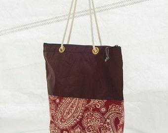 Delmarva Paisley Handbag, Recycled Sail Bag, Sailcloth Tote, Eco Bag, Upcycled Handbag, Vegan Bag, Sail cloth Totebag