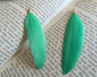 6pcs green   feather pendant