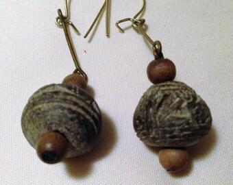 60's era wood earrings.
