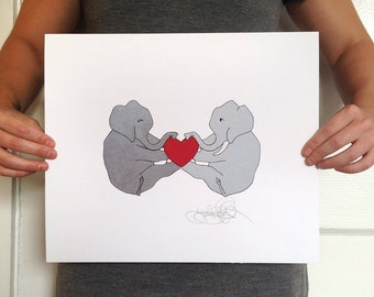 Elephant Love, signed 5x8 fine art print