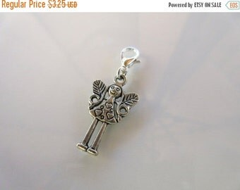 20% OFF SALE Fairy Clip-On Charm Tibetan Silver with silver lobster clasp--zipper pull, charm bracelets, necklace charm