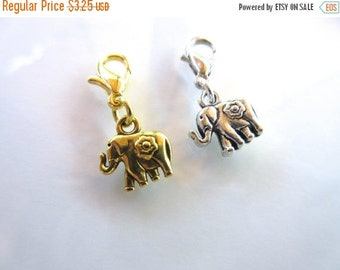 20% OFF SALE Lucky Elephant Clip-On Charm Tibetan Silver with lobster clasp--zipper pull, charm bracelets, necklace charm gold or silver