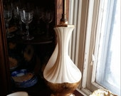 Vintage MCM 22K Weeping Gold and White Porcelain Table Lamps - Set of Two