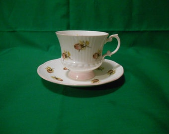 """One (1), Bone China, 3"""" Footed Tea Cup & Saucer, from Elizabethan Pattern. in the 3584 Pattern."""