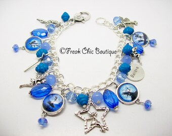 Fairy Charm Bracelet Blue Theme, Fairy Jewelry, Unique Gift, Gift For Her, Fairies, fay, fae, faery, faerie,