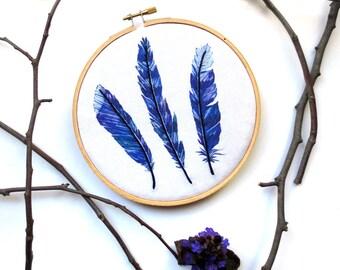Woodland Nursery Wall Art, Blue Feather Embroidery Hoop Art, Nature Art, Boho Decor, Baby Boy Room, Country Cottage Decor, Blue Jay Feathers
