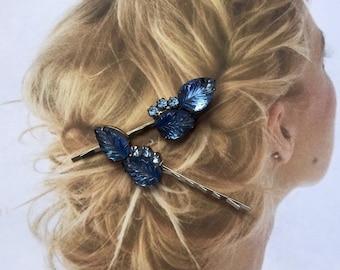 Decorative Hair Pins Iridescent 1940 Molded Art Glass Montana Blue leaf Leaves Rhinestone Bridal Hair Pins