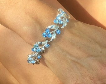 Vintage Bridal Bracelet, 1950 1960 Blue Lisner Grape Rhinestone Silver Leaf Leaves Vines Stunning!