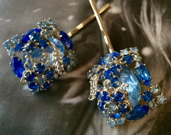 Decorative Bridal Blue 50's Weiss Vintage Bobby Pins