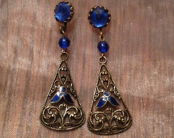 Blue Bridal Earrings 1920's Vintage Bridal Art Deco Vauxhall Glass Blue Enamel Filigree