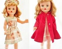 "ON SALE Vintage Unmarked 19"" Hard Plastic Doll, Walking Type Doll, Wardrobe Included, Long Honey Blonde Hair, Blue Sleep Eyes, Fully Jointed"