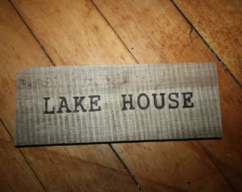 """Hand Made Wood Burned Driftwood Sign/Wall Hanging With """"Lake House"""" Wood Burned Into Driftwood, Water Front, Beach, Nautical, Decor"""