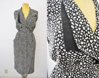 SALE Vintage 90s Wrap Dress Black White Paint Speckled Stone Wash Shirt Dress Long Vest