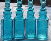 4 Blue Bottles 6.5 Inch Tall 4 Oz 120ml 6.5 Inches Tall Corks Glass Bottle Collection Vintage Wedding Decor Blue Vases Bud Vases