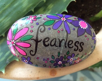Happy Rock - Fearless - Hand-Painted River Rock Stone - purple daisies hot pink pansies flowers