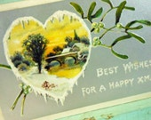Antique Happy Xmas Postcard Davidson Bros. Pictoral Mistletoe and Heart Printed in Germany