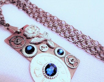 STEAMPUNK Necklace Vintage Watch Parts Gear Copper Silver ROSE Dial Face BLUE Swarovski Crystal Two Tone Pendant by DKsSteampunk