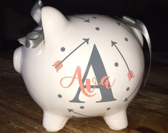 Personalized Piggy Bank with Arrows/ Custom Piggy Bank/ Baby Shower Gift