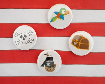 Pirate Badge Set - Set of 4 badges - Birthday Party Bag - Loot Bag - Goodie Bag - Birthday Gift - Treasure Hunt - Button Badge