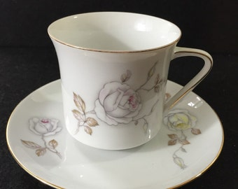 Dawn Rose China Teacup Saucer Vintage Johann Haviland Bavaria Germany