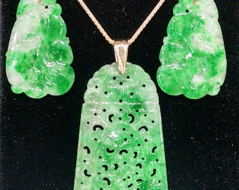Ladies, Antique, Hand Made, Hand Carved, Jade, 14K, Yellow, Gold, Earrings, Pendant