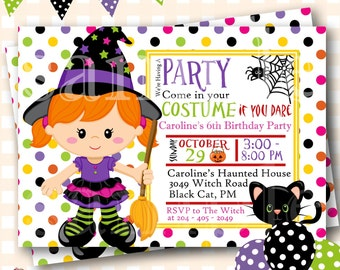 Halloween Birthday Invitations, Cute Witch Birthday, Halloween Birthday Invites, Witch Birthday Invitations, Halloween Invite - H51
