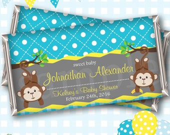 Jungle Baby Shower Favors, Chocolate Wrappers, Custom Candy Wrapper, Jungle Candy Wrappers, Monkey Baby Shower, Jungle Baby Shower - #B02