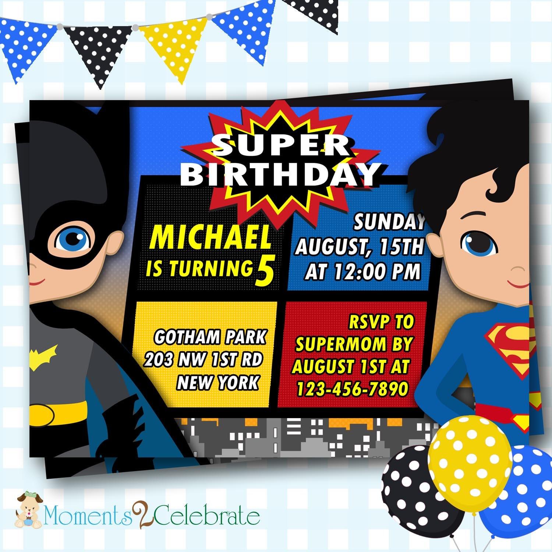Batman vs Superman Birthday Batman Invitations Superman