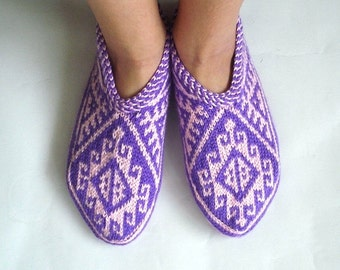 knit slippers, pink and purple Turkish Knitted Socks Slippers, woman slippers, knitted home shoes, gift for woman house shoes