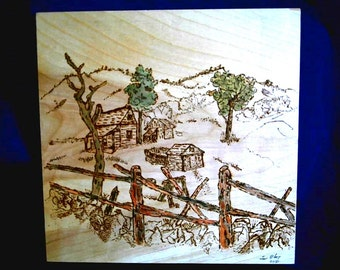 Art Pyrography-Farm- Handcrafted-Wood Burnt Wall Plaque Signed #196